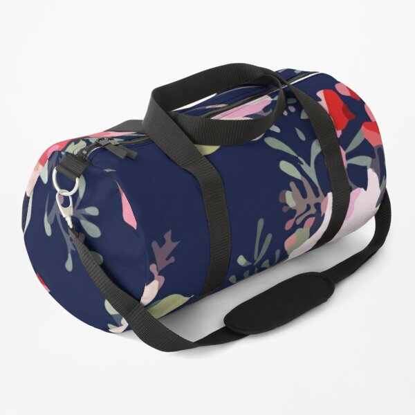 Rose Flower Seamless Pattern Dark Blue Duffle Bag