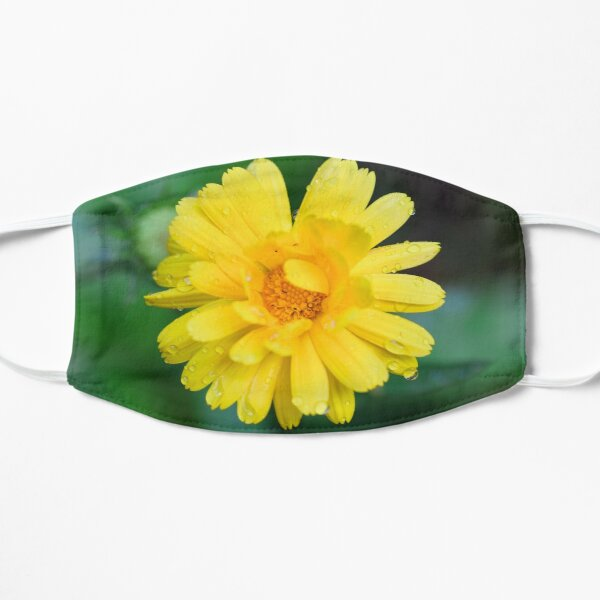 Yellow garden flower with dew drops facemask Mask