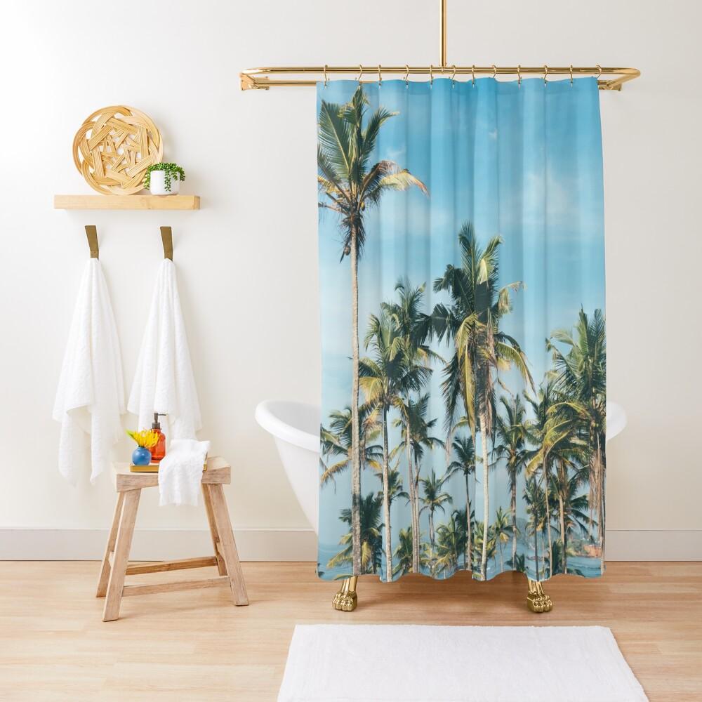 Palmtrees blue sky Shower Curtain