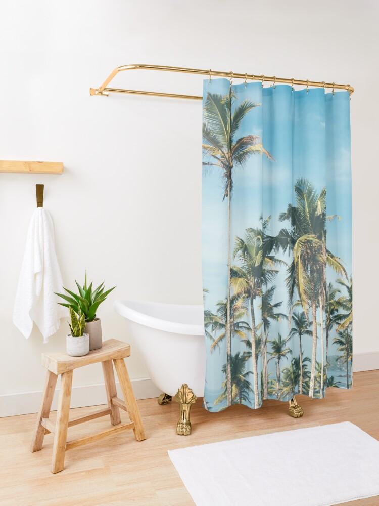 Alternate view of Palmtrees blue sky Shower Curtain