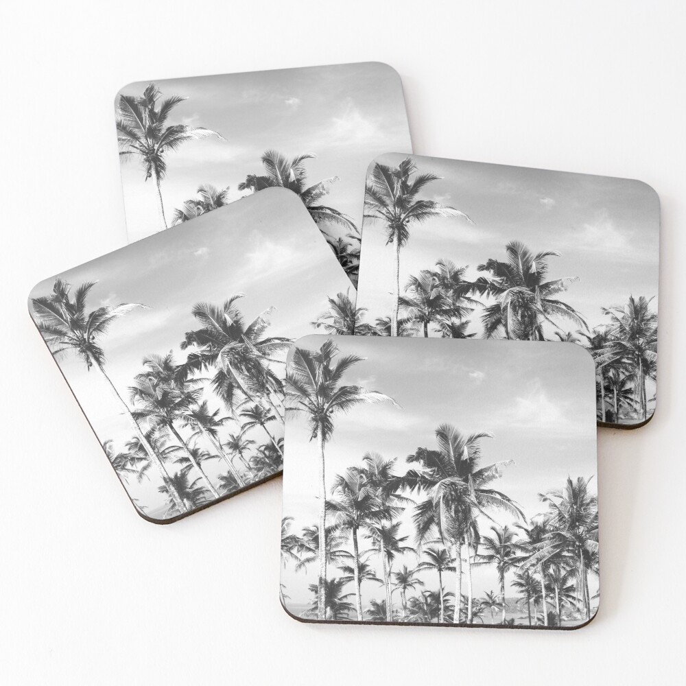 Palmtrees sky black&white Coasters (Set of 4)