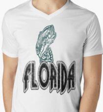 FISH FLORIDA VINTAGE LOGO Men's V-Neck T-Shirt