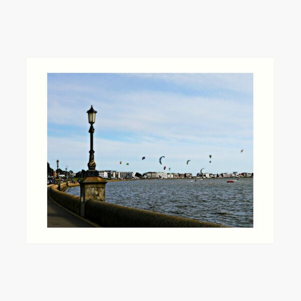 Kite Surfing at Poole Harbour. Art Print