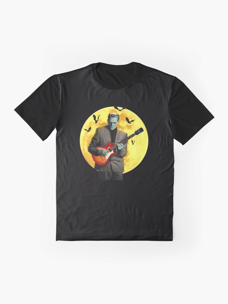 Alternate view of Frankenstein Plays Electric Guitar Graphic T-Shirt