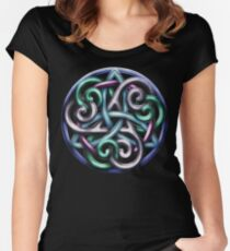 Celtic Triskele Knotwork  Women's Fitted Scoop T-Shirt