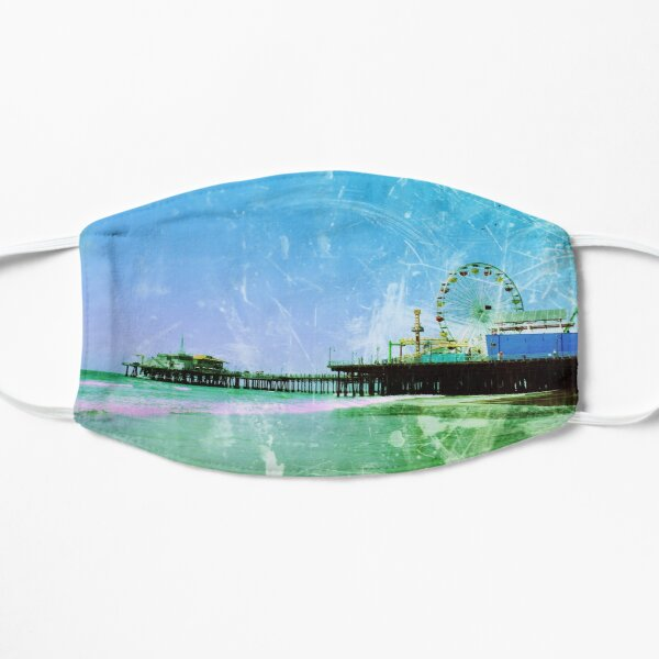Blue and green Santa Monica Pier Mask