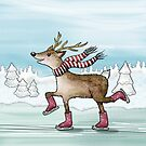 Oh Dear, a Deer Ice Skating by Rencha