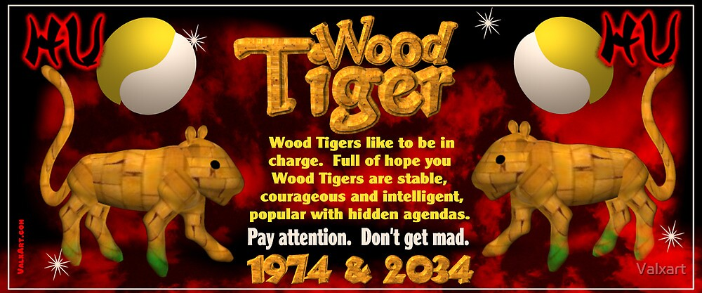 1974 2034 chinese zodiac born in year of wood tiger by valxart - Chinese New Year 1974