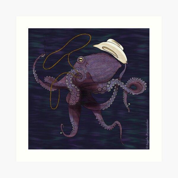 Cowboy Octopus Art Print