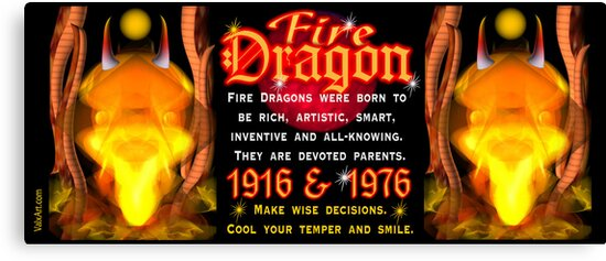 1976 2036 Chinese zodiac born in year of Fire Dragon  by Valxart