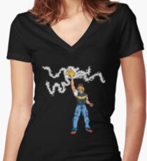 Poké-MAN: I HAVE THE PIKAAAAAAAA! Women's Fitted V-Neck T-Shirt