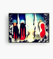 His and Hers Red Bottom Heels and Sneakers Canvas Print