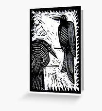 Black Birds Original Hand Pulled Linoleum Print Greeting Card
