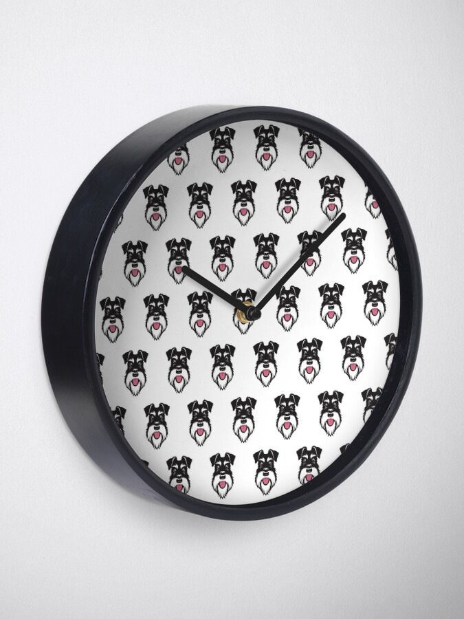 Alternate view of Silver & Black schnauzer repeat pattern Clock