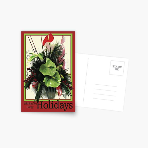 Green & Red Anthurium Holiday Postcard
