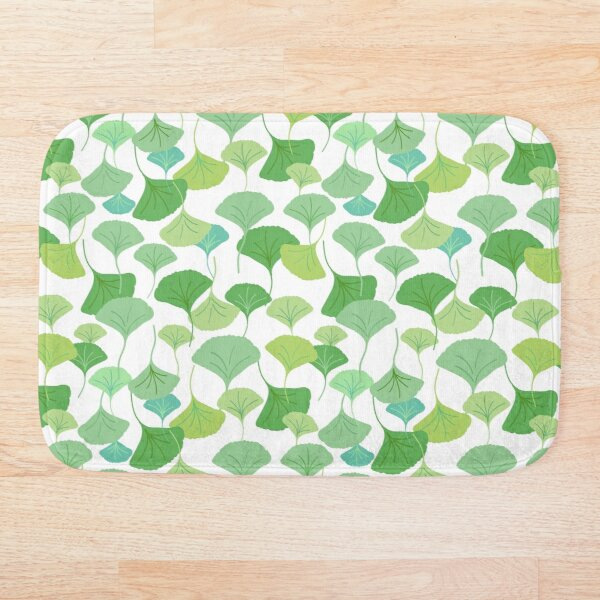 Green ginkgo biloba leaf print Bath Mat