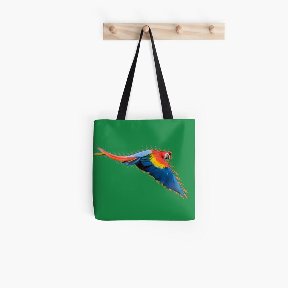 Scarlet macaw downwards wings Tote Bag
