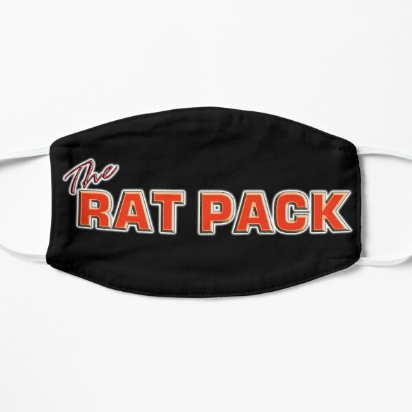 The Rat Pack. Singers, Music, Crooners, Frank Sinatra, Sammy Davis, Dean Martin. on Black. Flat Mask