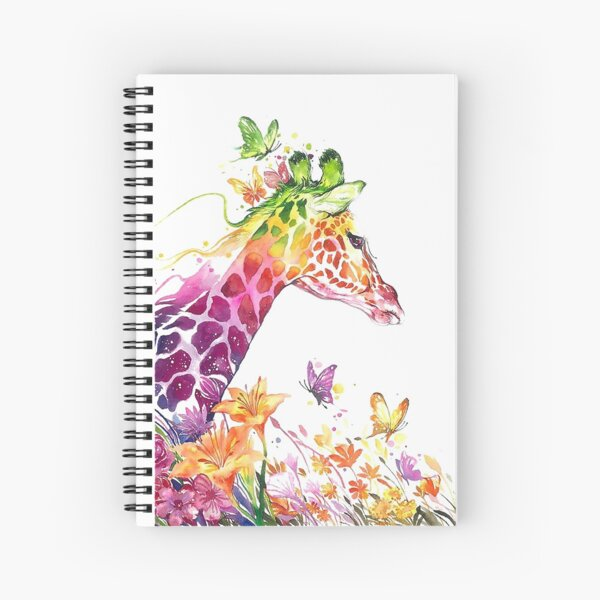 Colorful cheerful giraffe - watercolor Spiral Notebook