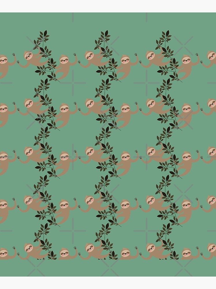 Sloth Hanging Vine Pattern - Green by happyhourvibe