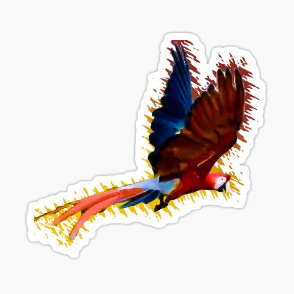 Scarlet macaw upwards wings Sticker