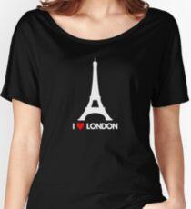I Heart London Eiffel Tower - Joke T-Shirt  Women's Relaxed Fit T-Shirt