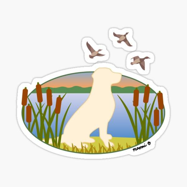 Yellow Labrador Retriever Hunting Dog Sunset Sticker
