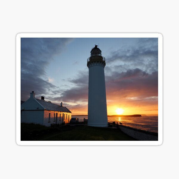 Sunrise at Cantick Head Lighthouse self catering cottage Sticker