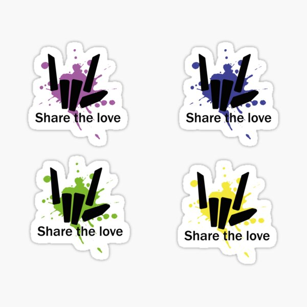 Share the Love Yellow, Green, Blue and Purple Pack Stikcer Style Sticker