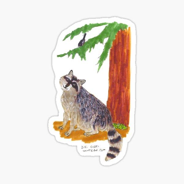 Raccoon, Cedar, Sorrel and Towhee Sticker