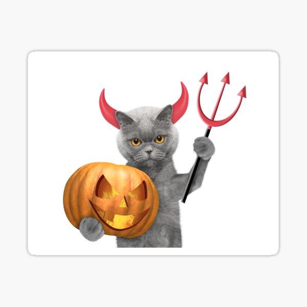 Halloween Devil Cat Sticker