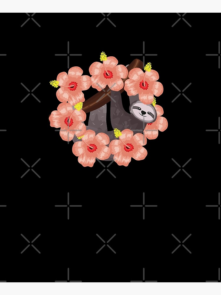 Sloth Flower Pattern by happyhourvibe