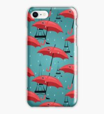 vector seamless pattern with red umbrellas iPhone Case/Skin