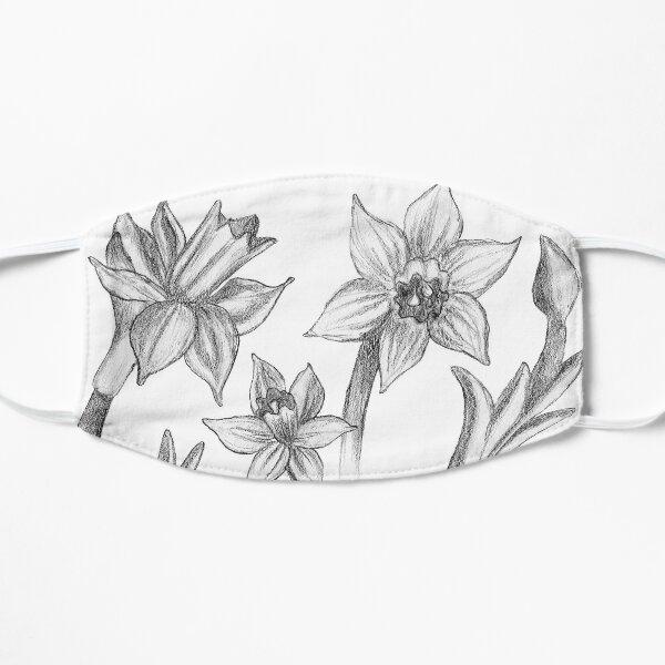 Black and White Daffodil Pattern Mask