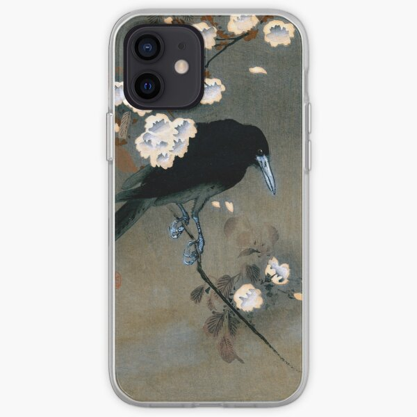 Vintage Japanese Crow and Blossom Woodblock Print iPhone Soft Case