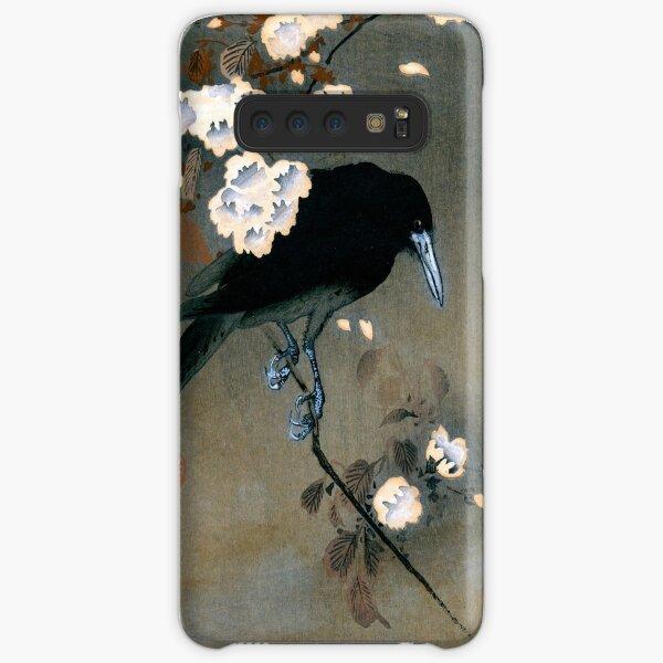 Gravure sur bois vintage corbeau et fleur japonais Coque rigide Samsung Galaxy
