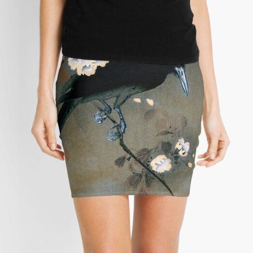 Vintage Japanese Crow and Blossom Woodblock Print Mini Skirt