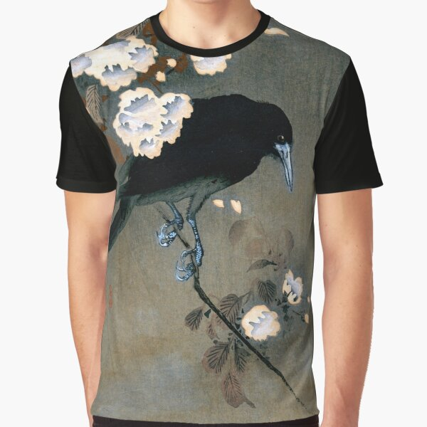 Vintage Japanese Crow and Blossom Woodblock Print Graphic T-Shirt