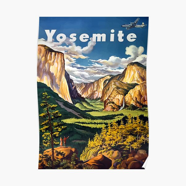 Vintage Yosemite National Park California Travel Poster