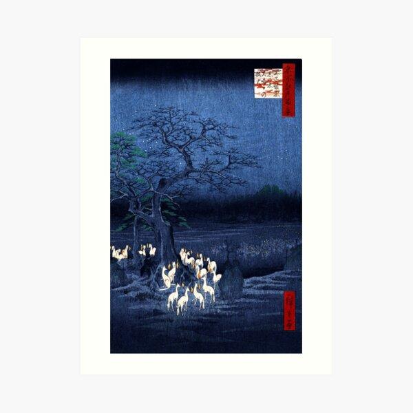 Hiroshige New Year's Eve Foxfires at the Changing Tree, Oji Art Print
