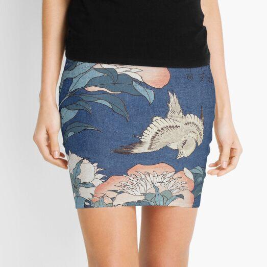 Katsushika Hokusai Peonies and Canary Mini Skirt