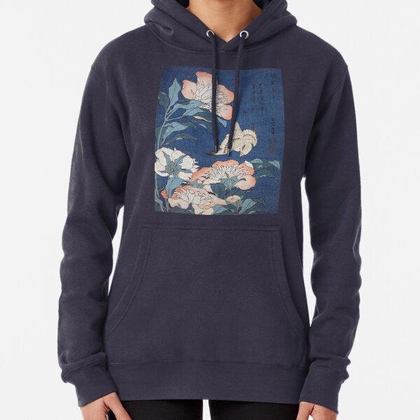 Katsushika Hokusai Peonies and Canary Pullover Hoodie