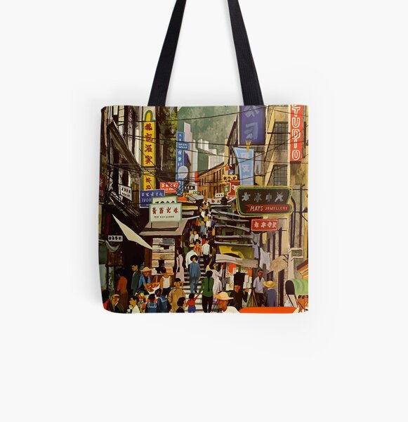 Vintage Airline Hong Kong China Travel All Over Print Tote Bag