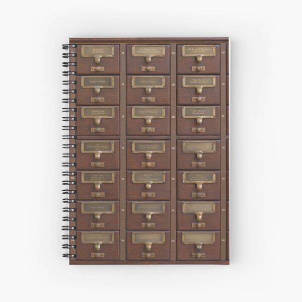 Vintage Library Card Catalog Drawers Spiral Notebook