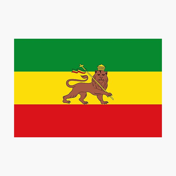 Custom Rastafarian Flag of Ethiopia Lion of Judah Photographic Print