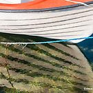 Boat reflected in a Swedish harbour by Michael Brewer