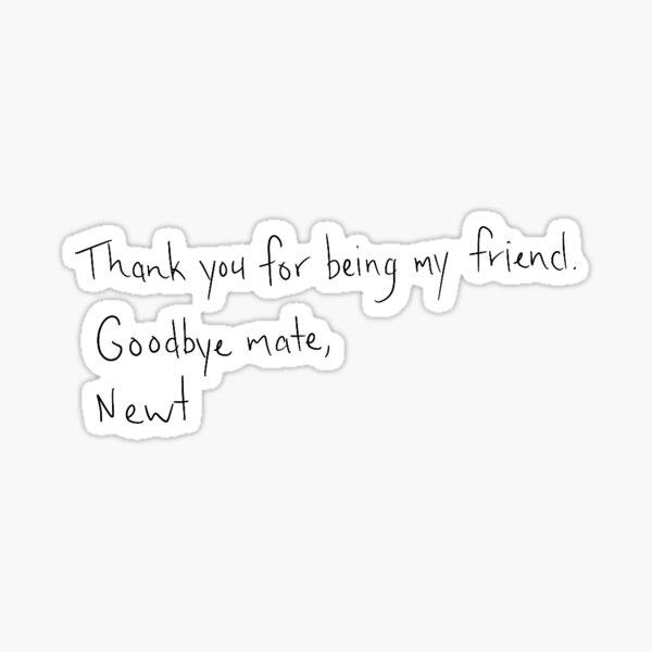 Newt Maze Runner Letter to Thomas Sticker