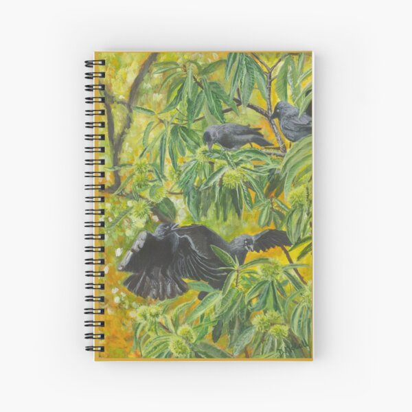 Jackdaws in a Sweet Chestnut Tree Spiral Notebook