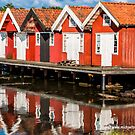 Red boat houses in Sweden by Michael Brewer
