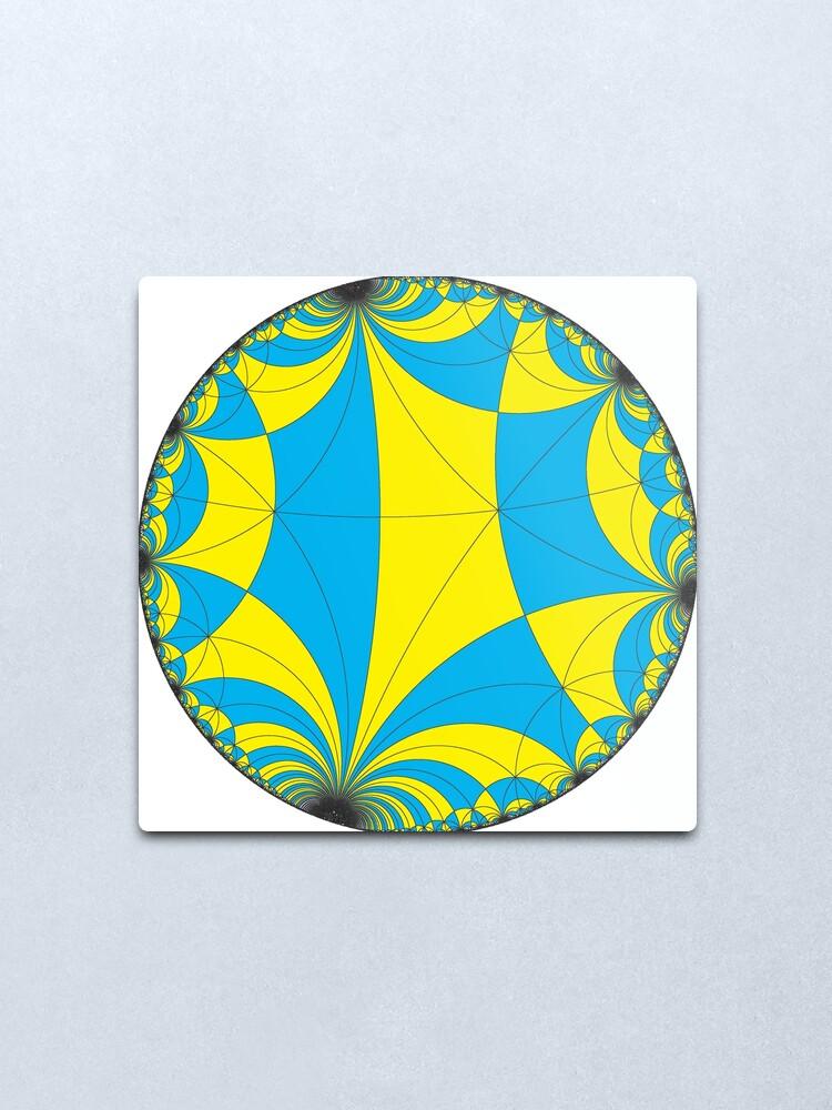 Alternate view of Tiling of the Lobachevsky space by Saccheri quadrangles, one of the cases of the Coxeter polytope. Замощение пространства Лобачевского четырехугольниками Саккери Metal Print